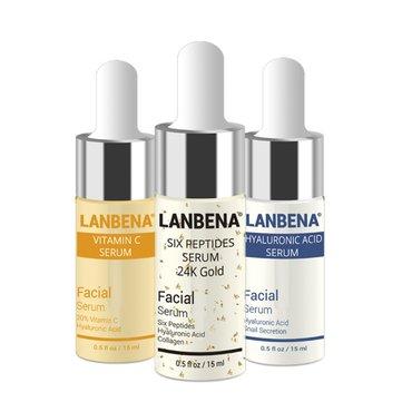 LANBENA 3 pz Siero di acido ialuronico Siero di sei peptidi Siero anti-invecchiamento in oro 24K Vitamina E