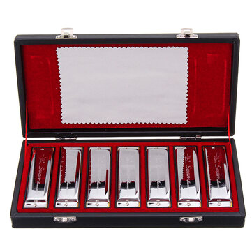 7PCS/Set Swan SW1020-7T 10 Holes Blues Harmonicas Performance Haronica ABCDEFG 7 Keys Harp Musical Instruments Gift Present Box