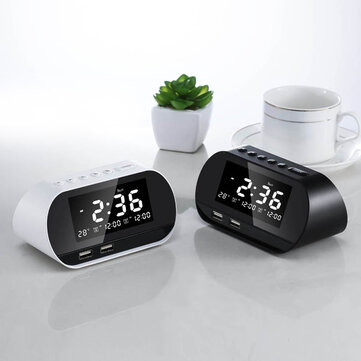 Buy Dual Home FM 2 puertos USB USB phone charger Raido multifunctional alarm clock All-In-One Design With Wireless Speaker Office brightness adjustable LCD Display Permanent Calendar with Litecoins with Free Shipping on Gipsybee.com