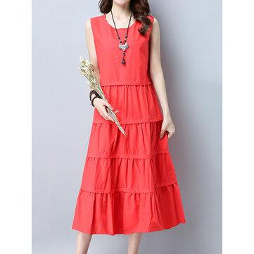 カジュアルな女性の純粋な色のノースリーブプリーツミディアムドレス