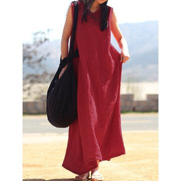 Kadın Kolsuz V Boyun Vintage Baggy Uzun Maxi Elbise