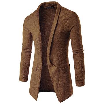 पुरुषों की आकस्मिक अंचल बड़ी पॉकेट लंबी कार्डिगन स्वेटर फैशन गर्म ऊनी बुना हुआ कपड़ा