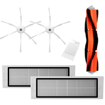 6PCS Replacements for  XIAOMI Roborock Xiaowa Vacuum Cleaner Main Brush*1 Filters*2 Side Brushes*2 Cleaning Brush*1