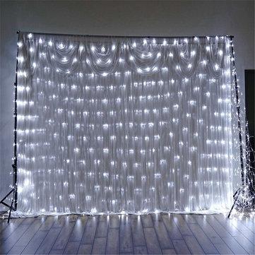 1.5x1.5m IP65 LED Curtain Fairy Holiday String Light Christmas Party Wedding Decor EU Plug AC220V