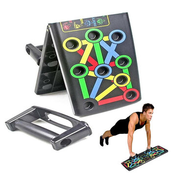 14 In 1 Foldable Push Up Stand Board Home Gym Push-up Chest Muscle Training Fitness Equipment for sale in Bitcoin, Litecoin, Ethereum, Bitcoin Cash with the best price and Free Shipping on Gipsybee.com