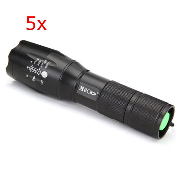 5pcs Meco XM-L2 2000LM 5Modes Zoomable LED Flashlight 18650/AAA
