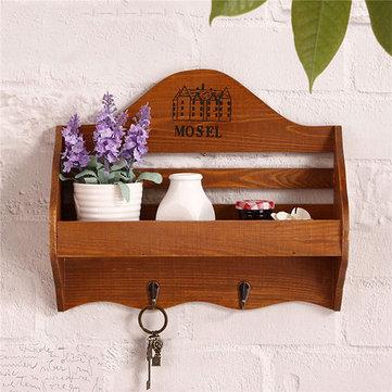 Antique Style Key Wood Hook Hanger Sundries Wall Storage Rack Home Decor