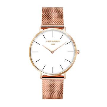 CHRONOS 1898 Women Quartz Watch Casual Style Milanese Strap Fashion Ultra-thin Lady Wristwatch