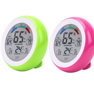 2pcs DANIU Green+Rose Multifunctional Digital Thermometer Hygrometer Temperature Humidity Meter Touch Screen Multicolor Min Value Trend Display ℃/℉ Big Clearance