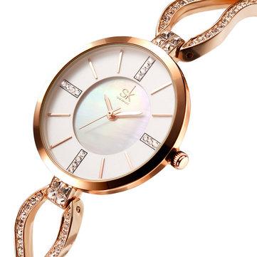 Ốp lưng kim cương SK K0020 Đồng hồ đeo tay nữ Đồng hồ đeo tay bằng thép không gỉ