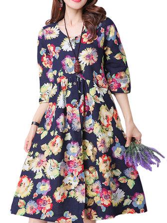Longgar Wanita Bunga Percetakan Lipit A-line Cotton Linen Dress