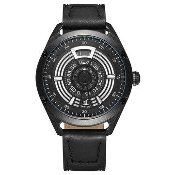 WEIDE UV1701 Unique Design Men Wrist Watch Leather Strap Casual Style Quartz Watch