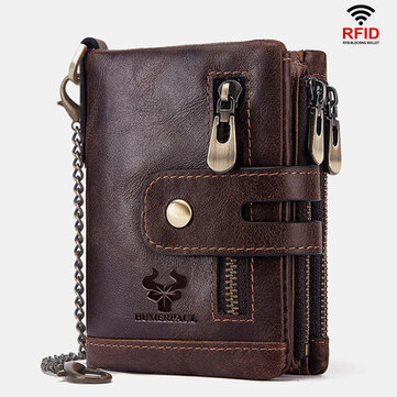 Men Genuine Leather RFID Anti scanning Anti Theft Zipper Wallet With Chain