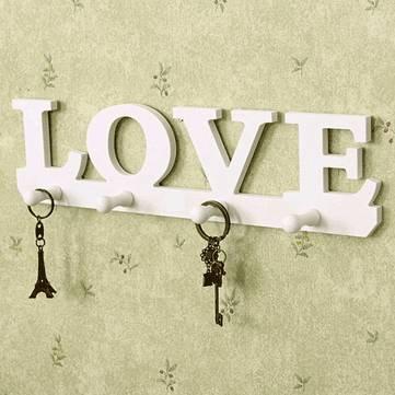 Creative Vintage White LOVE Robe Hook Clothes Holder Sundries Hanger Wall Decor