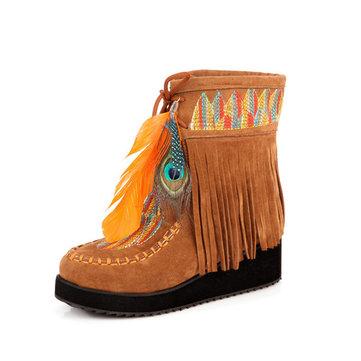 """ארה""""ב גודל 5-12 נשים פרווה בטנה רקום נוצות הגדילים ווד נעליים הקרסול"""