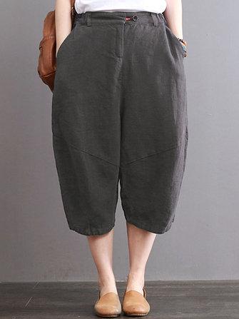 Women Vintage Pure Color Button Elastic Waist Cotton Pants