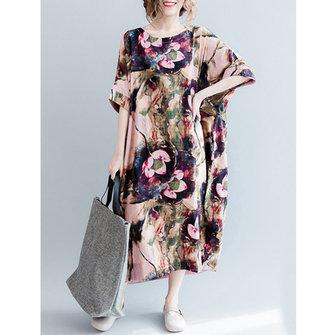 Casual S-5XL Women Loose Lotus Printing Dress