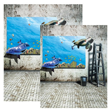 3x5FT 5x7FT Retro Wall Sea Poster Photography Backdrop Background Studio Prop