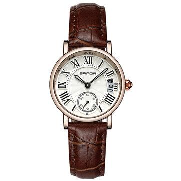 SANDA P206L Kalendarz w stylu Casual Kobiety Oglądaj skórzany pasek Zegarek kwarcowy