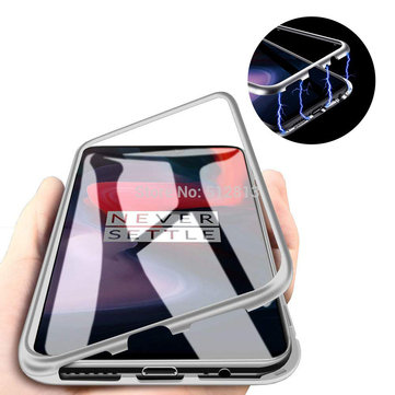 the best attitude 75fae 017ef Bakeey 360° Magnetic Adsorption Metal Tempered Glass Flip Protective Case  for OnePlus 6
