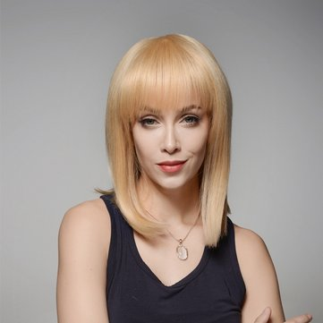 Golden Medium Straight Full Bang Wig Human Hair Wigs Virgin Remy Mono Top Capless