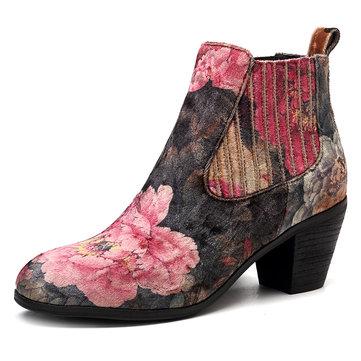 SOCOFY Handmade Floral Pattern Velvet Cloth Slip On Block Heel Ankle Boots