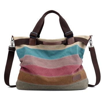 KVKY Canvas Striped Handbags Vintage Contrast Color Shoulder Crossbody Bags
