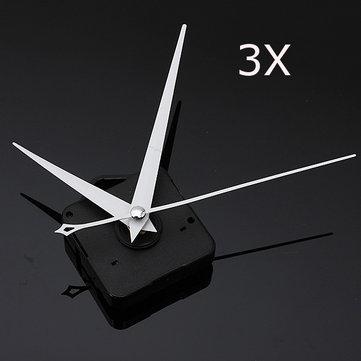 3Pcs DIY White Triangle Hands Quartz Black Wall Clock Movement Mechanism