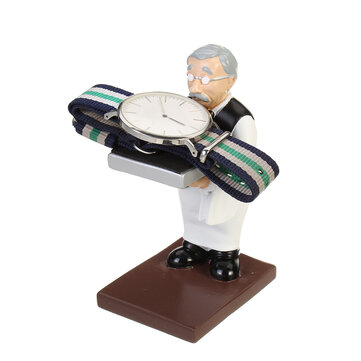 Creative Old Housekeeper Figurine Pattern Watch Jewelry Display Stand with Sponge Pad