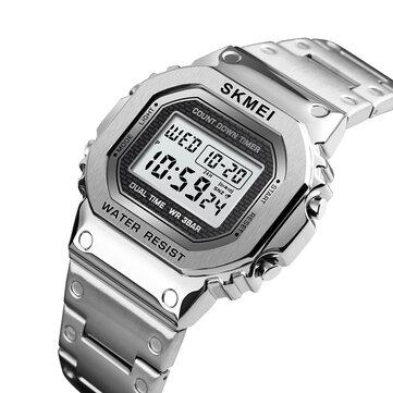 SKMEI 1456 LED Chronograph Countdown Paduan Kasus Besi tahan karat Waterproof Digital Perhiasan Men Perhiasan