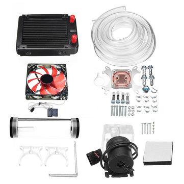120mm DIY PC Water liquid Cooling Fan Kit Heat Sink Set CPU Block Water Pump Reservoir Hose