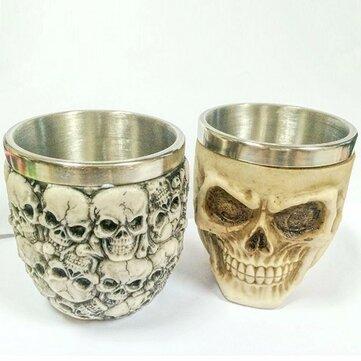 Retro 3D Thép không gỉ Skull Cup Mới lạ Đầu Sọ Vodka Mug Cà phê Uống Cup Cup Đồ uống