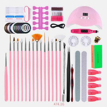 Manicure Gel Nail Polish Kit Electric Nail Drill Phototherapy Machine Set Painted Pen Manicure Set