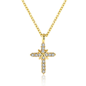 INALIS Fahsion Gold Plated Cross Crystal Pendant Necklace for Women