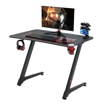 Douxlife® DL_GD02 Gaming Desk Ergonomic Design 43.3″ Carbon Fiber Textured Surface Z Shaped Gamer Workstation with Complete Gaming Accessories for Home Office