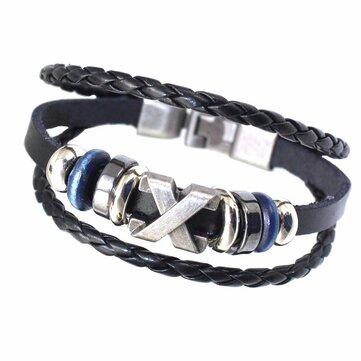 Ethnic Multilayer Leather Bracelet Retro Oval Beads Rope Bracelets Vintage Gift for Men