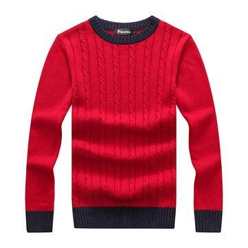 पुरुषों मोटी कंट्रास्ट कलर कॉलर पुलओवर स्वेटर ओ-गर्दन निटवेअर 4 रंग