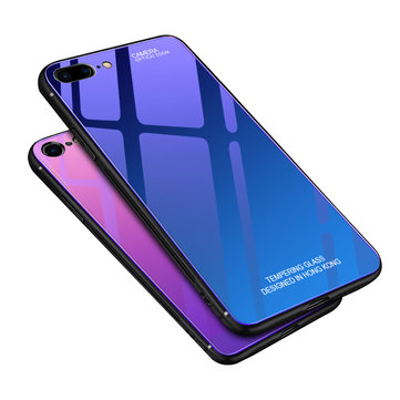 Bakeey Gradient Farge Aurora Blue Ray Tempered Glass Soft Edge Beskyttelsesveske til iPhone 7/8 Plus
