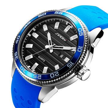 SINOBI 1255 Luminous Waterproof Sport Style Quartz Watch Silikone Strap Clock Men Watches