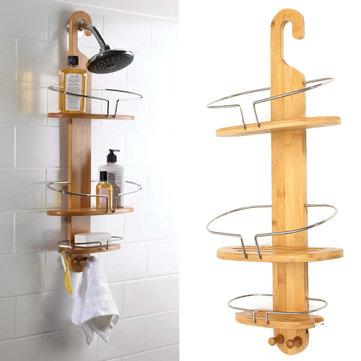Honana BS-122 มุมขัดของไม้ไผ่มัลติฟังก์ชั่ ห้องอาบน้ำ ชั้นวางของชั้นวางของ Vintage 3440148 ชั้นวางแร็ค