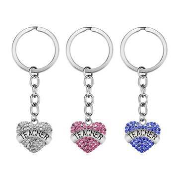 Buy Teachers' Day Keychain Crystal Heart Alloy Gift Key Ring Key Chain  with Litecoins with Free Shipping on Gipsybee.com