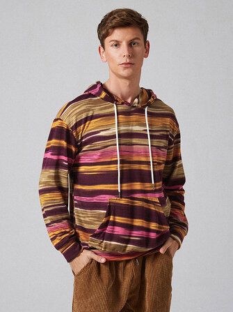 Mens New Fashion Casual Striped Knit Hoodie Sweatshirt