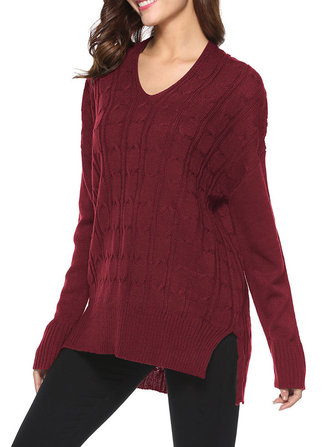 Women  Long Sleeve Solid Color V-Neck Twist Knitting Sweater Pullovers