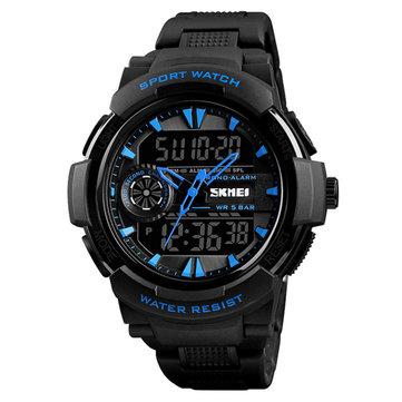 SKMEI 1320 Çift Ekran Dijital İzle Erkekler Chronograph Alarm İzle Moda Su Geçirmez Spor İzle