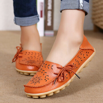 SOCOFY Large Size Floral Hollow Out Comfy Shoes Casual Lace Up Flats