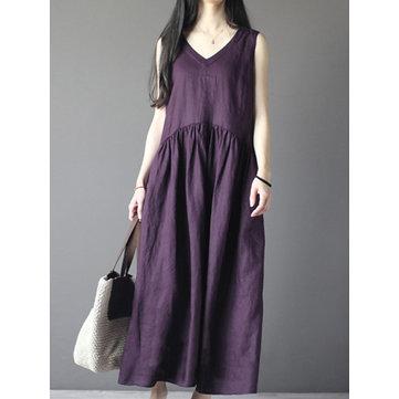 Vintage Kadın Kolsuz V Yaka Keten Pamuk Maxi Tankı Elbise