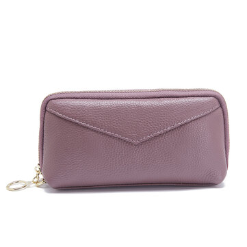 Women Genuine Leather Clutch Bag Zipper Long Wallet Two Fold Purse