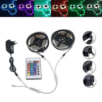 SMD 3528 RGB Impermeable 10m 600 LED Luz de Tira + Controlador + Conector del Cable + Adaptador DC 12V