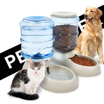 3.75L Portable Automatic Pet Dog Food Water Bottle Dispenser Dish Bowl Feeder