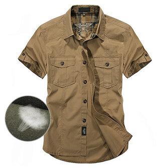 पुरुषों के लिए आउटडोर कपास सांस लेने योग्य मल्टी जेब कार्गो लघु आस्तीन कार्य शर्ट